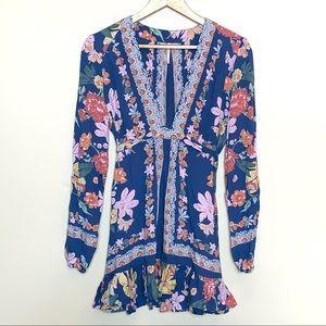 Free People Boho Blue Floral Tunic Mini Dress Sz 2
